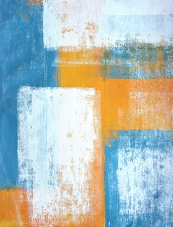 Teal and Orange Abstract Art Painting Archivio Fotografico