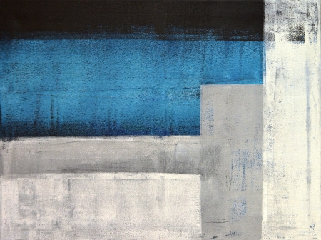 modern: Teal and Grey Abstract Art Painting