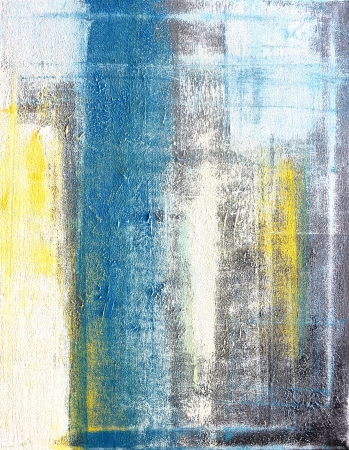 Teal and Yellow Abstract Art Painting Stock Photo