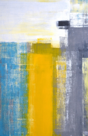 Teal and Yellow Abstract Art Painting Archivio Fotografico