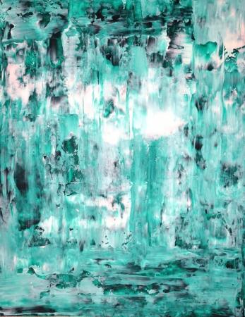 ターコイズの抽象芸術絵画