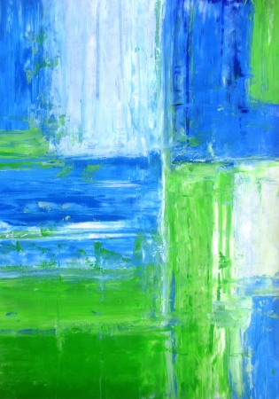 contemporary: Blue and Green Abstract Art Painting Stock Photo