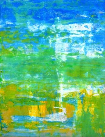 青と緑の抽象芸術絵画