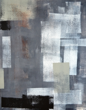 contemporary: Grey and Green Abstract Art Painting