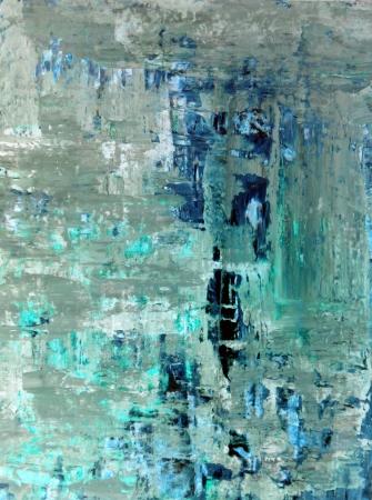 ベージュとターコイズ抽象芸術絵画