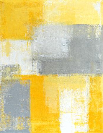 arte abstracto: Pintura del arte abstracto gris y amarillo