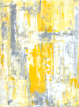wall decor: Grey and Yellow Abstract Art Painting Stock Photo