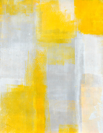 Grey and Yellow Abstract Art Painting Stock Photo