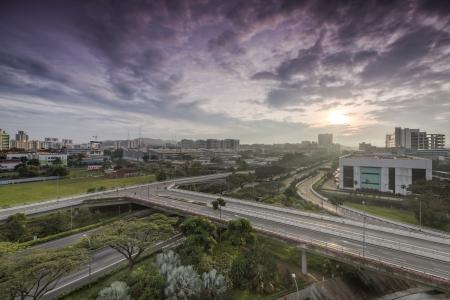 expressway: Sunrise over Pan Island expressway, Singapore Stock Photo