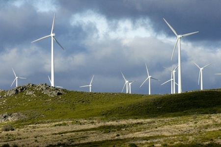 Power wIndmills at Portugals Northern mountains Stock Photo