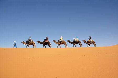 Camel caravan in the Moroccan Sahara photo