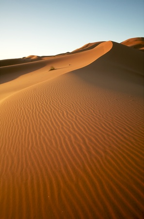 Sunrise the dunes of the Moroccan Sahara Stock Photo
