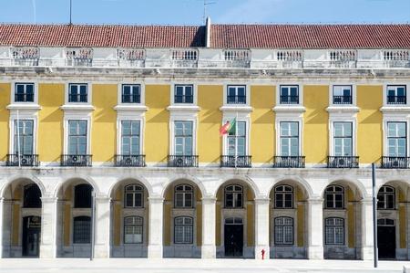 Facade of the building at Lisbons Terreiro do Pa�o Stock Photo