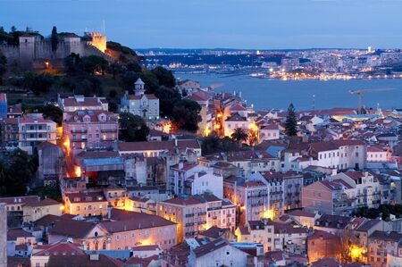 lisbon: View of Lisbons downtown  and martim Moniz square with river on the background Stock Photo