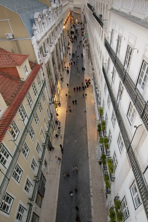Aerial view of Pedonal street at Lisbons Chiado district Stock Photo