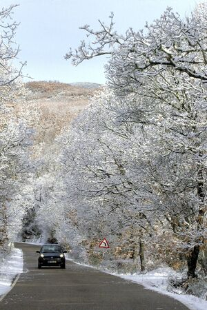 Road after snowfall Stock Photo