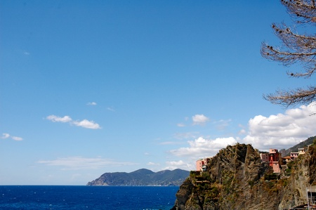 View of houses at CInque Terre, Italy Stock Photo