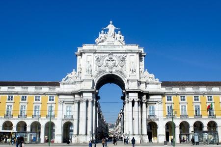 Stone arch at Terreiro do paccedilo  at Lisbon