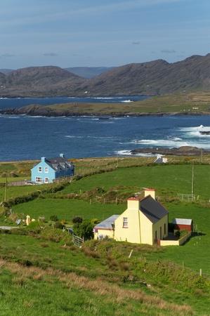 Houses by the ocean at Beara, Ireland photo