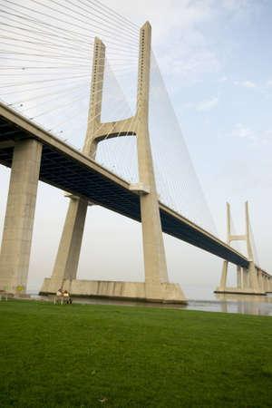 lisboa: View of noth tower of Vasco da Gama bridge