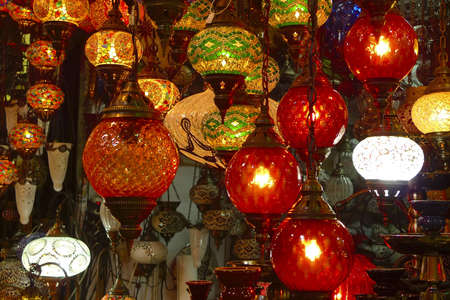 Colorful turkish glass lamps at Istambul market