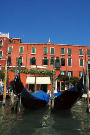 Anchored gondolas at grand canal Stock Photo - 12870874