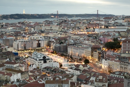 View of Martim moniz square and Lisbon downtown