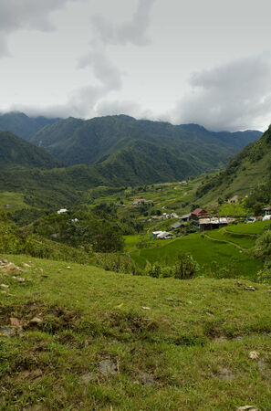 Small village at mountains of North Vietnam close to Sa Pa Stock Photo