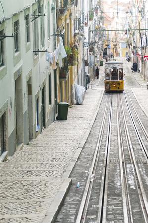 bica: Bica funicular on a uphill trip Editorial