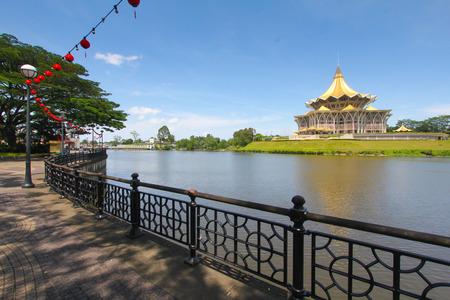 riverside: Kuching city riverside esplanade, Sarawak, Malaysia