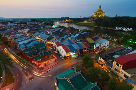 Kuching city in the evening, Sarawak, Malaysia
