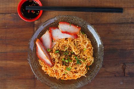 향토 요리 Kolo Mee in Sarawak, 말레이시아 스톡 콘텐츠