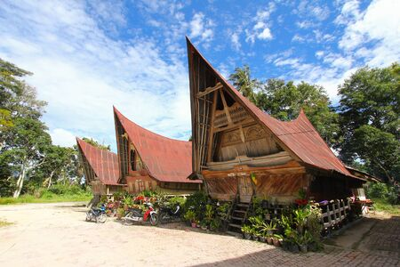 Traditional Batak house at Lake Toba, Indonesia