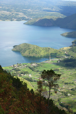 tele: Mountaneous landscape at Tele viewpoint near Lake Toba, Indonesia