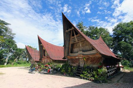 Indigenous Batak house architecture at Lake Toba, Indonesia