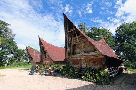 aborigin: Indigenous Batak house architecture at Lake Toba, Indonesia