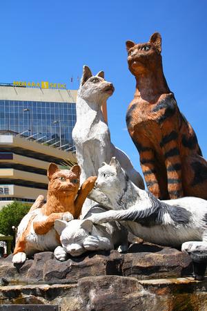 Cat statues in Kuching city Sarawak Malaysia