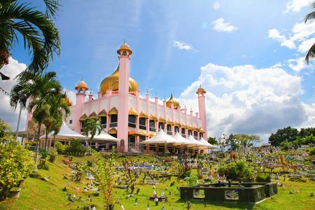 malaysia culture: Pink mosque in Kuching city sarawak Malaysia