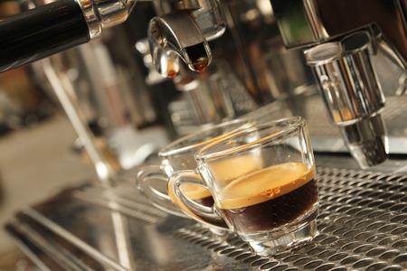 Espresso being prepared from coffee machine