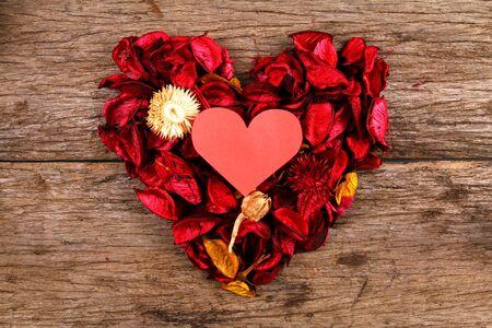 potpourri: Heart in centre of red potpourri heart Stock Photo