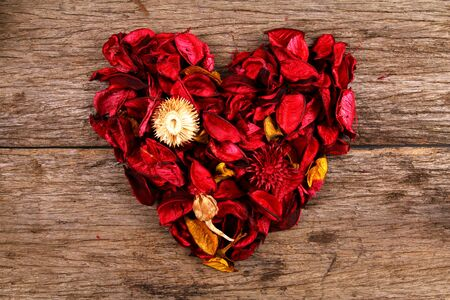 potpourri: Heart made from red potpourri flower petals
