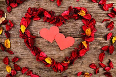 potpourri: Hearts in centre of red potpourri heart