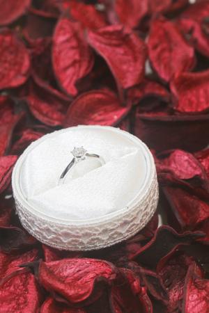potpourri: Diamond ring on red potpourri Stock Photo