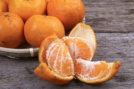 Peeled mandarin orange Stock Photo