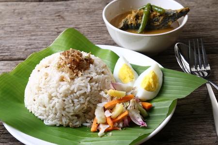 Nasi dagang, a popular Malaysian meal on the east coast of the Malaysian Peninsular.