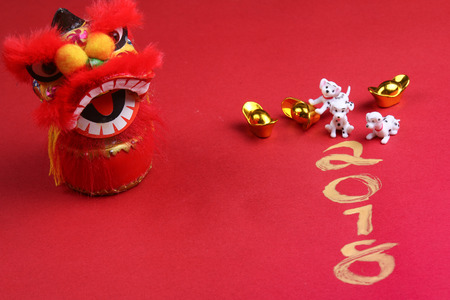 Miniature dogs with chinese new year decorations for year 2018 Stock Photo