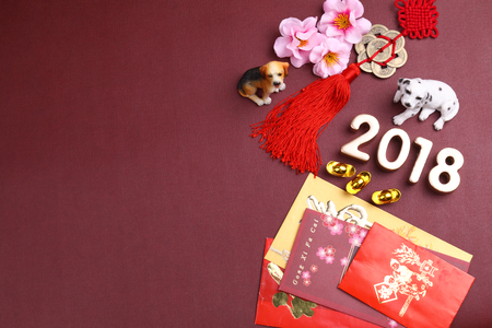 Miniature dogs with chinese new year decorations for year 2018 Archivio Fotografico