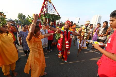 Hindu devotees celebrating Thaipusam at Batu Caves, Kuala Lumpur, Malaysia