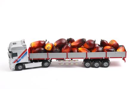 기름 야자 과일을 들고 장난감 트레일러 트럭