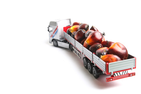Toy trailer truck carrying oil palm fruitlets 版權商用圖片
